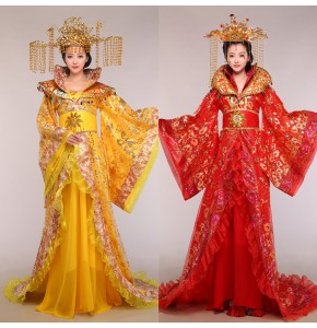 Chinese folk dance costumes for women female hanfu tang emperor princess ancient traditional fairy queen cosplay trailing robes costumes