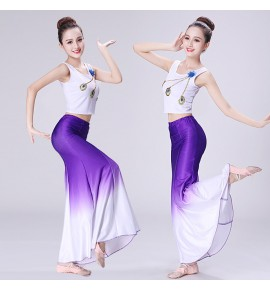 Chinese folk dance costumes for women female peacock dance stage performance mermaid competition school cosplay photos dresses