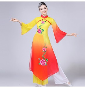 Chinese folk dance costumes for women female red yellow gradient ancient traditional classical fairy yangko fan dance clothes dresses