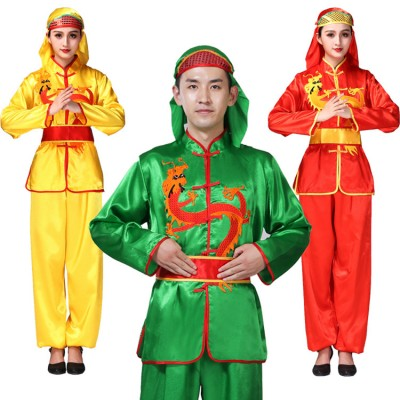 Chinese folk dance costumes for women men's  ancient traditional dragon drummer square dance stage performance costumes