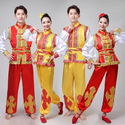 Chinese folk dance costumes for women men's red gold stage performance dragon lion drummer dance dresses