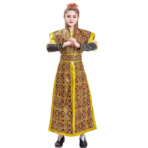 Chinese folk dance costumes for women men's warrior swordsmen stage performance professional drama cosplay robes dresses
