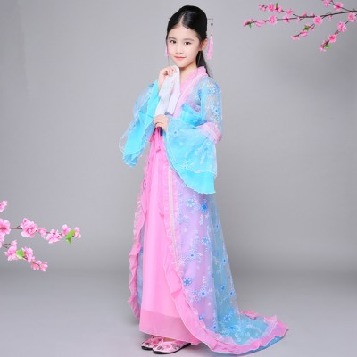 chinese folk dance costumes Girls blue with pink princess dress kids children hanfu fairy anime drama cosplay dress robes