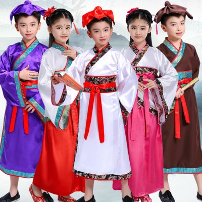 Chinese folk dance costumes hanfu for boy girls  ancient traditional fairy drama Confucius school student cosplay dresses robes