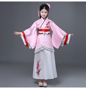 Chinese folk dance costumes hanfu for kids girls pink stage performance competition fairy ancient anime drama cosplay photos dancing robes dresses