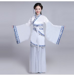 Chinese folk dance costumes hanfu for women female white and blue competition china traditional ancient yangko fairy drama cosplay dresses