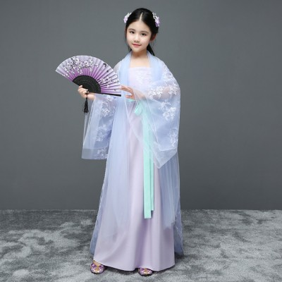 Chinese folk dance costumes hanfu light pink blue for girls fairy stage performance princess drama cosplay robes costumes
