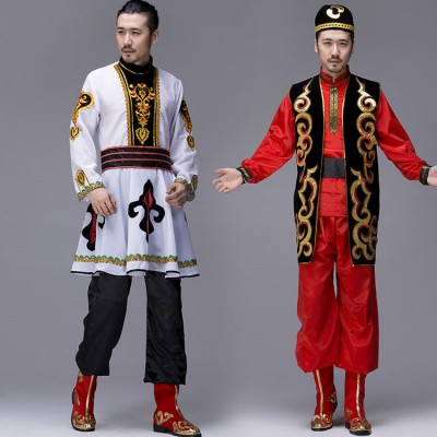 Chinese folk dance costumes Men's xin jiang Kazakh Uighur dance costumes stage performance costumes