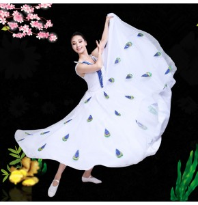 Chinese folk dance costumes peacock modern dance dress for women girls stage performance drama cosplay dress