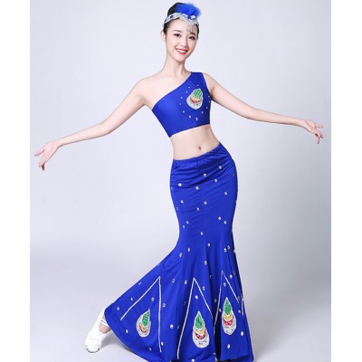 Chinese folk dance costumes Women's royal blue colored belly dance dresses chinese folk peacock modern mermaid dresses