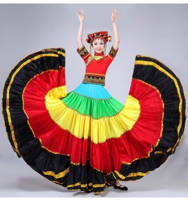 Chinese folk dance costumes Yi miao hmong people torch festival colorful big swing skirt performance costumes