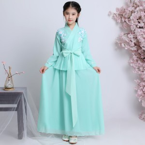 Chinese folk dance dress for girls hanfu mint green fairy princess ancient traditional stage performance anime drama cosplay robes dres