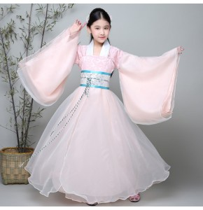 Chinese folk dance dress for kids children pink ancient traditional dance hanfu fairy princess drama anime cosplay dancing  robes costumes