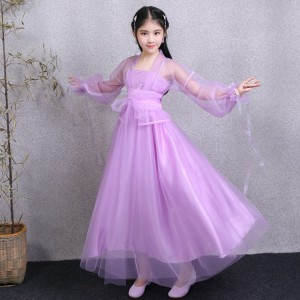 Chinese folk dance dress for pink violet blue girls children fairy ancient traditional princess drama birthday party photography dresses