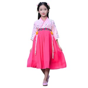 Chinese folk dance dresses for girls kids  Korean  kimonos hanfu princess drama photography cosplay stage performance dresses