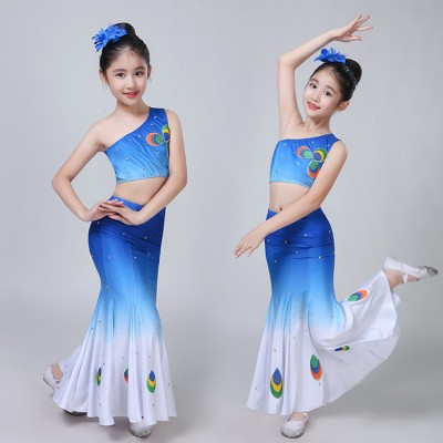 Chinese folk dance dresses for girls peacock  blue gradient colored children belly dance mermaid dresses competition stage performance dance outfits