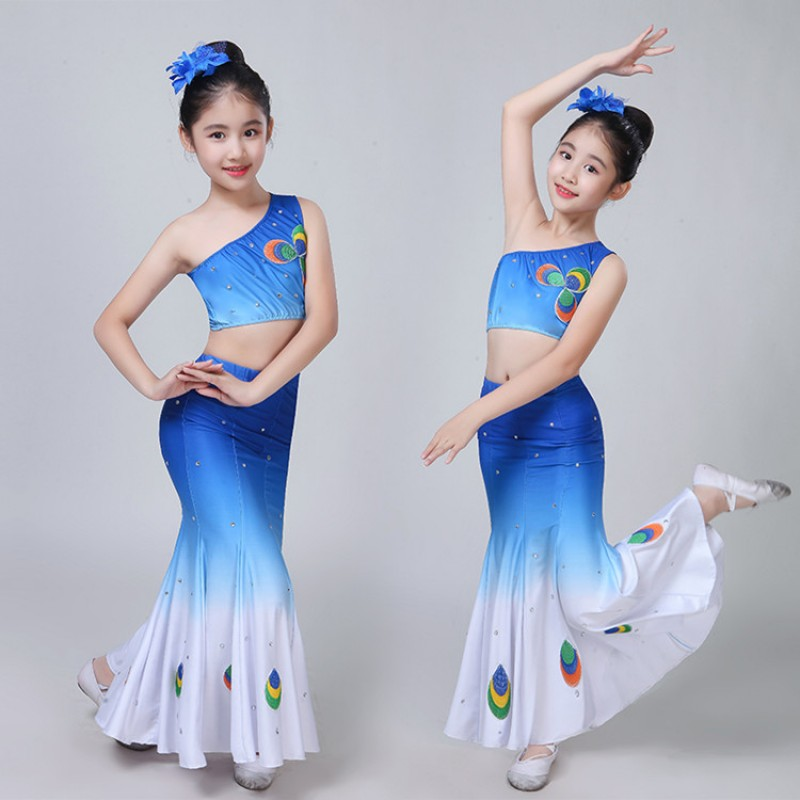 66cfeb61d Chinese folk dance dresses for girls peacock blue gradient colored children  belly dance mermaid dresses competition stage performance dance outfits