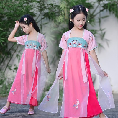 Chinese folk dance dresses for kids girls hanfu princess photography fairy show performance dresses costumes