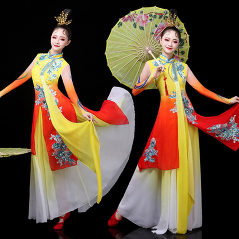 55d637723144 Chinese folk dance dresses for women yellow fairy traditional yangge ...