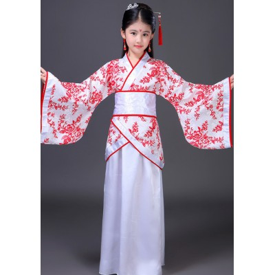 Chinese folk dance dresses hanfu for kids girls children fairy princess drama cosplay photography show performance dress costumes