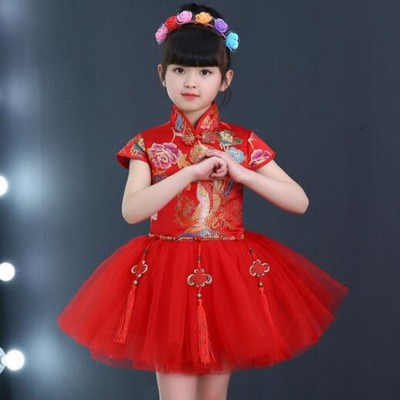 Chinese folk dance dresses  princess dress for girls kids China red dragon style show chorus stage performance dress costumes