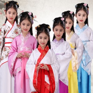 Chinese folk dance fairy hanfu drama cosplay dresses for girls children photos stage performance school competition robes costumes