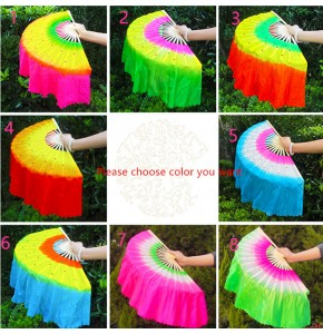 Chinese folk dance fans accessories for women girls rainbow ancient traditional yangko fan dancing fans