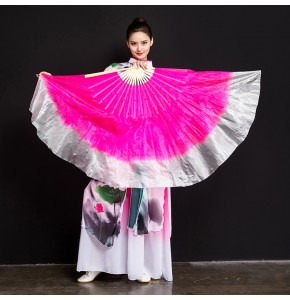 Chinese folk dance fans for women girls pink gradient colored yangko  belly fan dance 45cm big fans right hand style one piece