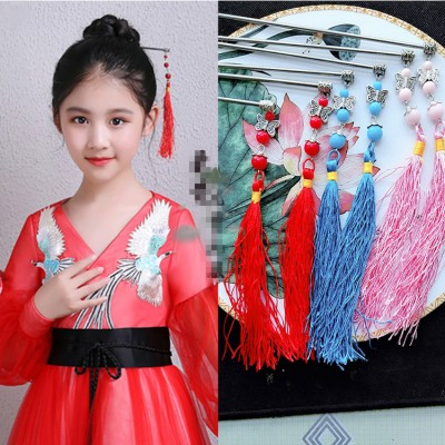 Chinese folk dance hair accessories hairpin for girls children ancient traditional dance fairy princess cosplay performance headdress
