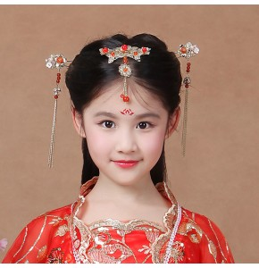 Chinese folk dance hair accessories headdress for girls princess fairy hanfu ancient traditional dance cosplay phoenix hairpin