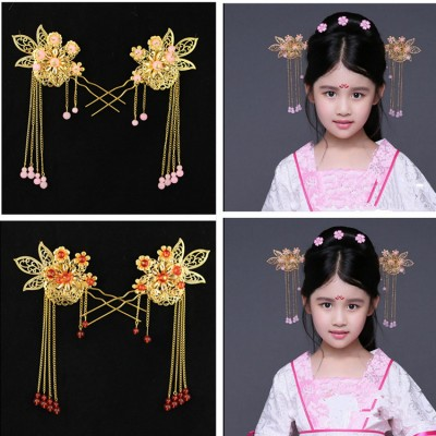 Chinese folk dance hair accessories princess  girls hairpin traditional dance hanfu fairy photos drama cosplay stage performance head dress