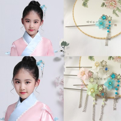 Chinese folk dance hairpin for girls kids children fairy ancient traditional princess cosplay stage performance hanfu headdress hair accessories