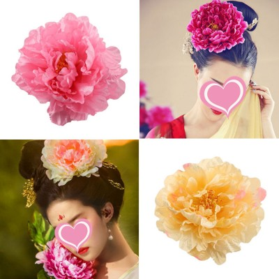 Chinese folk dance headdress silk peony  hair accessories tang empress princess drama photography cosplay head flowers