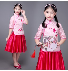 Chinese folk dance princess dress  for children girls photos drama cosplay hanfu students china style cheongsam dress guzheng costumes