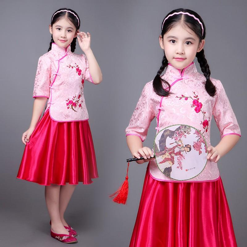 caf74f8a5 Chinese folk dance princess dress for children girls photos drama cosplay  hanfu students china style cheongsam