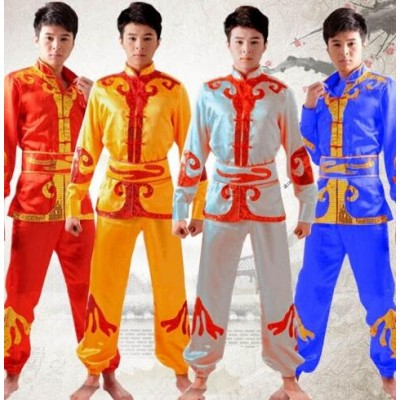 Chinese Male Yangko Costume Male Dragon Dance Clothes Lion Dance Clothing Chinese Folk Costume Waist Drum Dance Costume