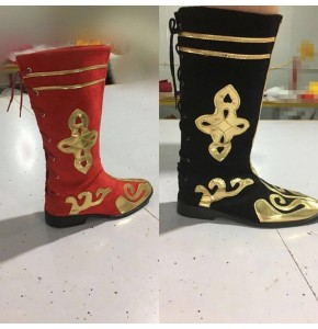 Chinese minority folk dance boots for women male girls kids children Mongolian grassland stage performance shoes boots