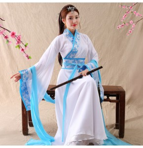 Chinese traditional dance dresses fairy princess hanfu drama anime photography cosplay guzheng stage performance robes costuems
