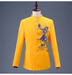 Chinese traditional  dragon coat for Men's jazz singers may youth  grooms stage performance chorus host coats
