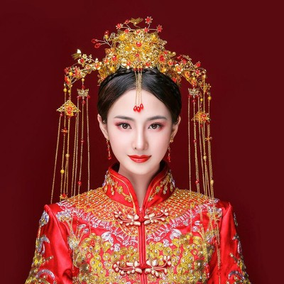 Chinese traditional empress queen cosplay photos headdress hair crown Chinese wedding brides phoenix hair accessories