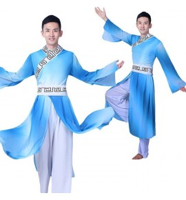 Chinese traditional folk dance costumes for men's male competition Blue stage performance hanfu warrior swordsmen cosplay robes clothes