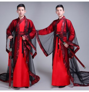 Chinese traditional Hanfu Costume  photos drama cosplay Male Tang Dynasty warrior swordsmen stage performance robes costumes