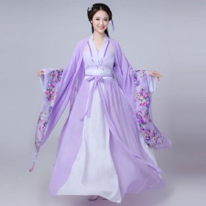 Chinese traditional Hanfu violet princess fairy cosplay dress Women's chinese folk dance costumes