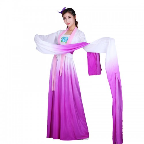 Chinese traditional hanfu water sleeves princess fairy drama cosplay dress chinese folk dance costumes