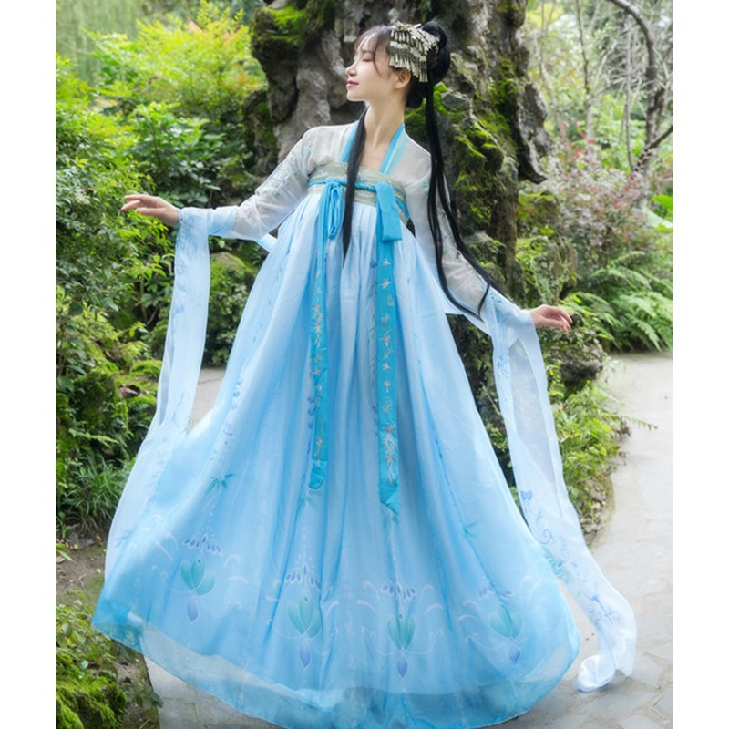 Chinese traditional Hanfu women chinese folk dance costumes stage performance fairy princess drama cosplay dress