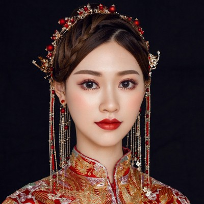 Chinese wedding party bridal hair accessories traditional Chinese empress princess fairy drama cosplay hanfu headdress