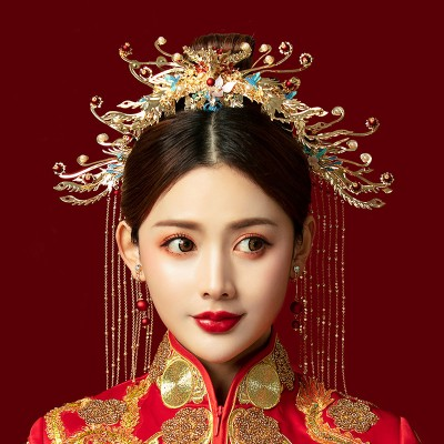 Chinese wedding party bridal phoenix hair accessories chinese ancient traditional film empress queen cosplay phoenix headdress