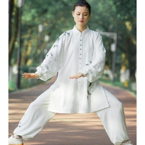 Chinese White Tai Chi suit for women and men spring and autumn kung fu uniforms Tai Chi quan wushu performance competition clothing