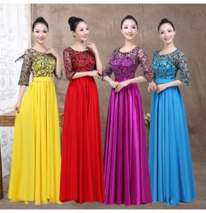 Chorus opening dance long evening dresses stage performance girls women singers group modern dance dresses 540degree