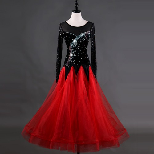 3620073bc03 ... Competition ballroom dancing dresses black with red for women girls  children ballroom tango waltz performance long